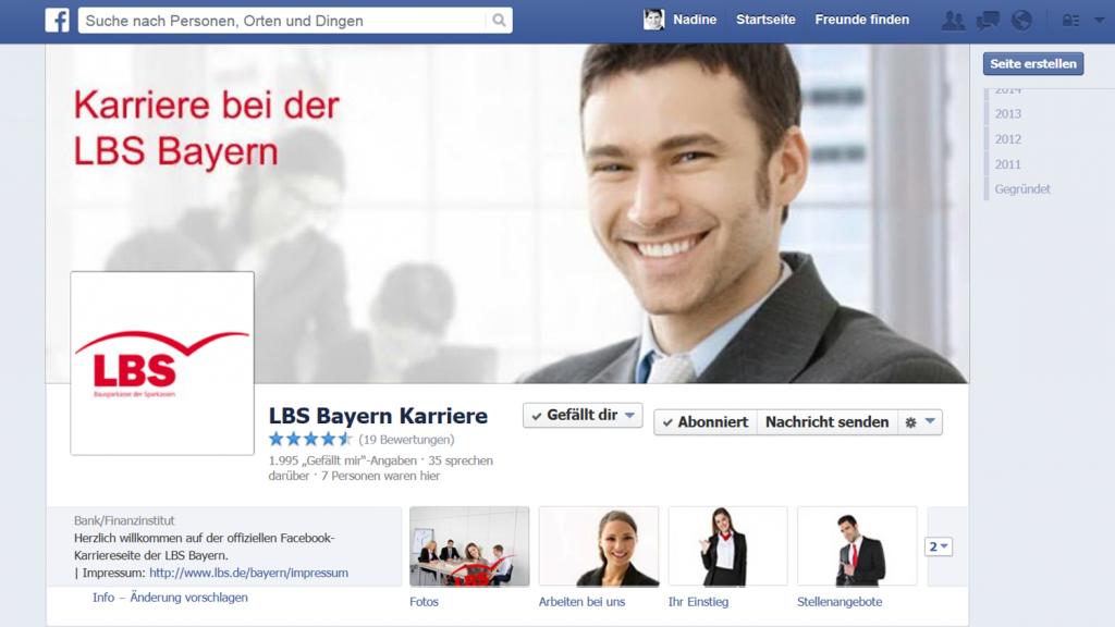 Suchen und Finden von neuen Mitarbeitern über Social Media am Beispiel der LBS Bayern.