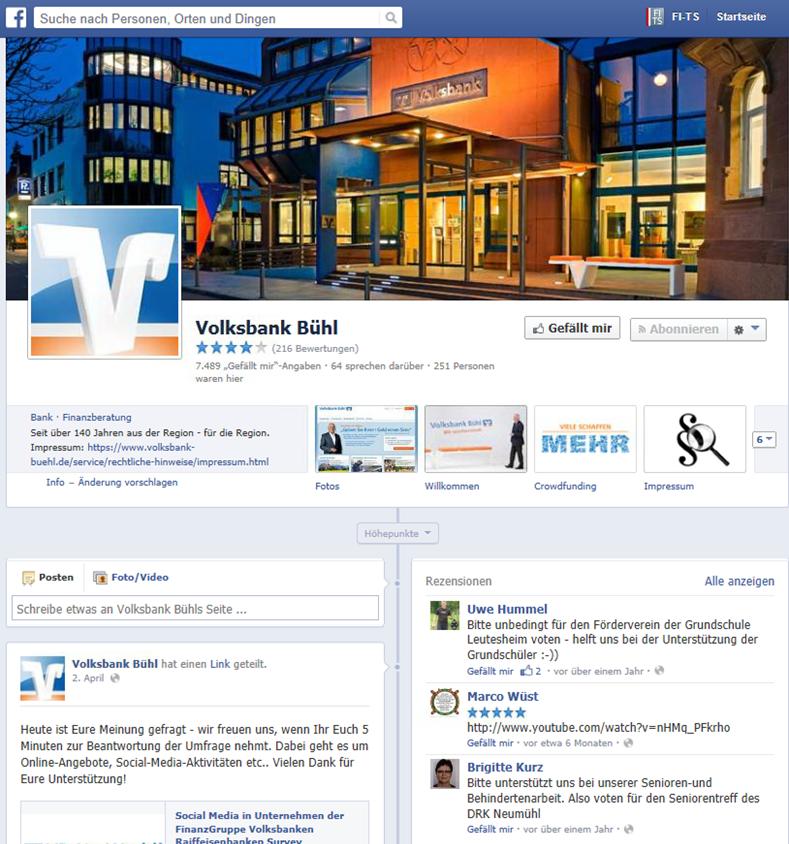 Facebook-Auftritt Volksbank Bühl