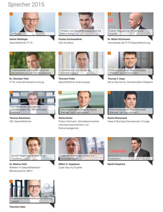 Sprecher auf dem FI-TS Management-Forum 2015