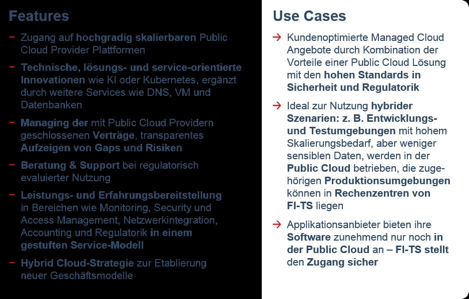 Features und Use Cases von FI-TS Finance Cloud Public Integration